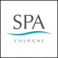 Das Logo der Firma SPA Cologne, Partner von aloove. Das Wort SPA steht in grau über zwei Wellen. Die obere Welle ist ein dunkles Türkis, die untere ein helles Türkis. Darunter steht in grau das Wort Cologne.